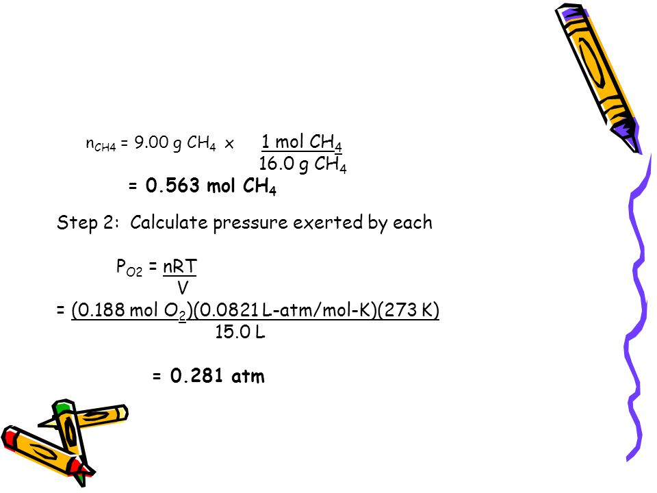 Step 2: Calculate pressure exerted by each PO2 = nRT V