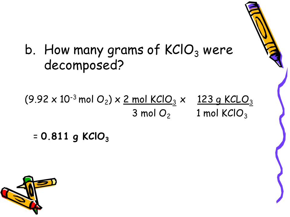 How many grams of KClO3 were decomposed