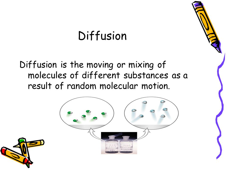 Diffusion Diffusion is the moving or mixing of molecules of different substances as a result of random molecular motion.