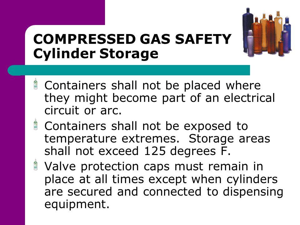 COMPRESSED GAS SAFETY Cylinder Storage