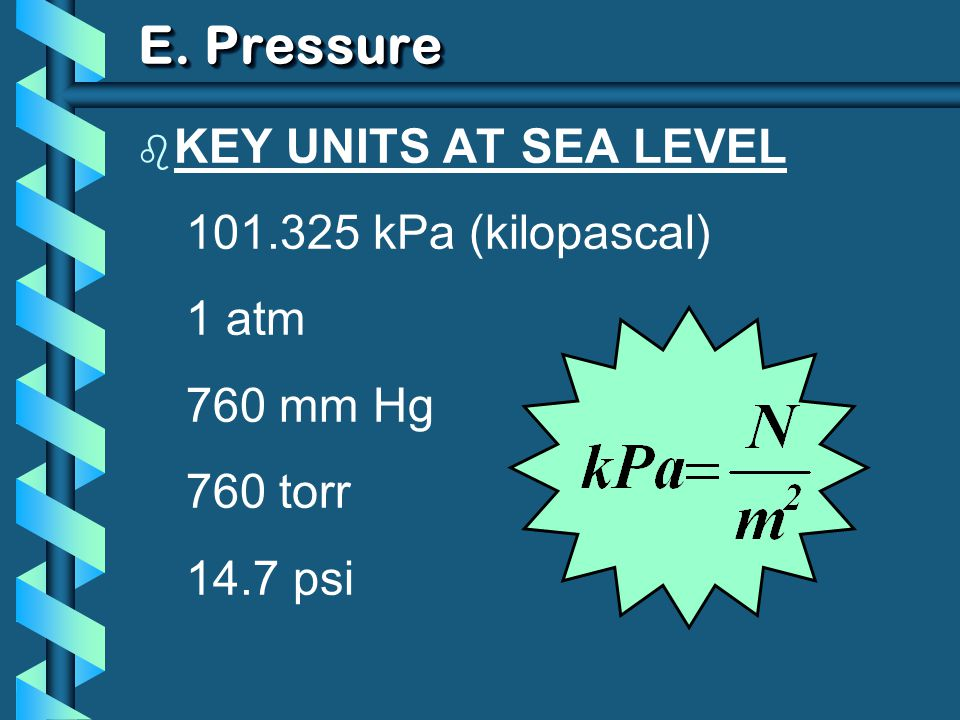 E. Pressure KEY UNITS AT SEA LEVEL 101.325 kPa (kilopascal) 1 atm