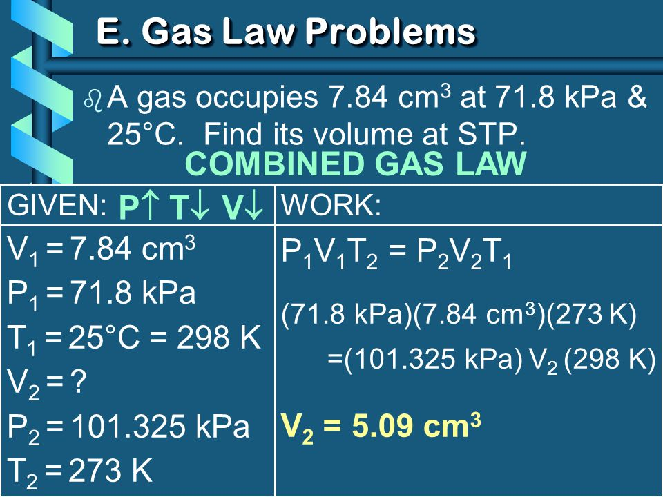 E. Gas Law Problems COMBINED GAS LAW P T V V1 = 7.84 cm3
