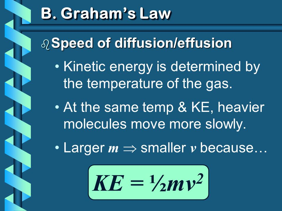 KE = ½mv2 B. Graham's Law Speed of diffusion/effusion