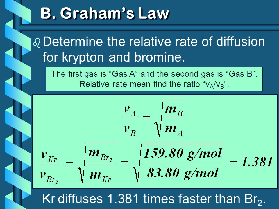 B. Graham's Law Determine the relative rate of diffusion for krypton and bromine. The first gas is Gas A and the second gas is Gas B .
