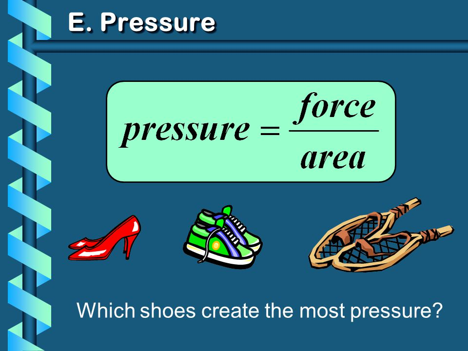 E. Pressure Which shoes create the most pressure
