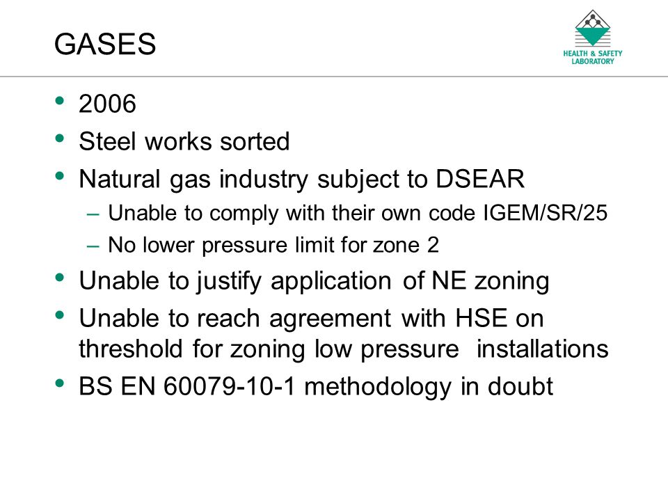 GASES 2006 Steel works sorted Natural gas industry subject to DSEAR