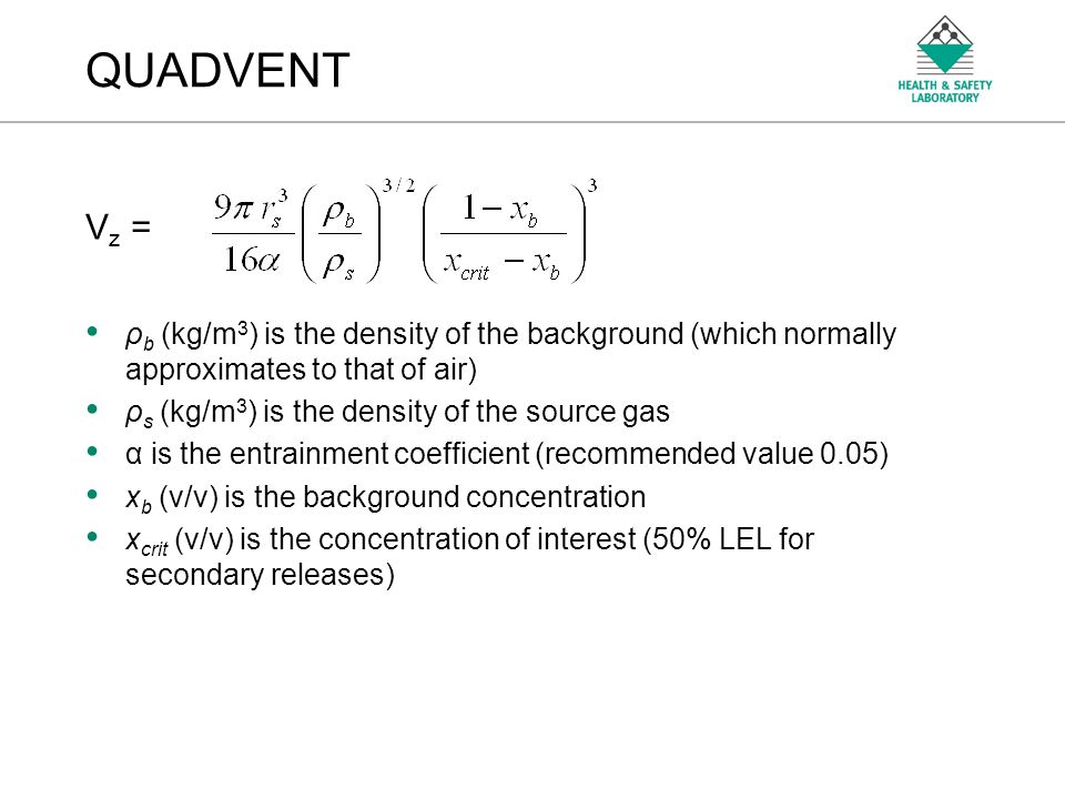 QUADVENT Vz = ρb (kg/m3) is the density of the background (which normally approximates to that of air)
