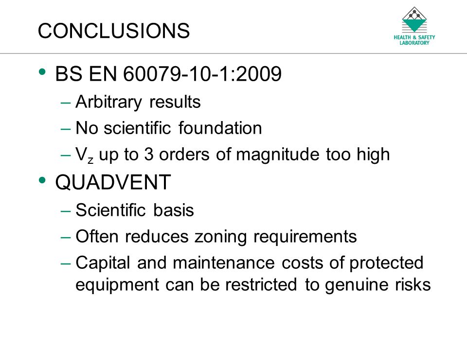 CONCLUSIONS BS EN 60079-10-1:2009 QUADVENT Arbitrary results