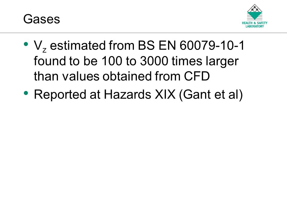 Gases Vz estimated from BS EN found to be 100 to 3000 times larger than values obtained from CFD.