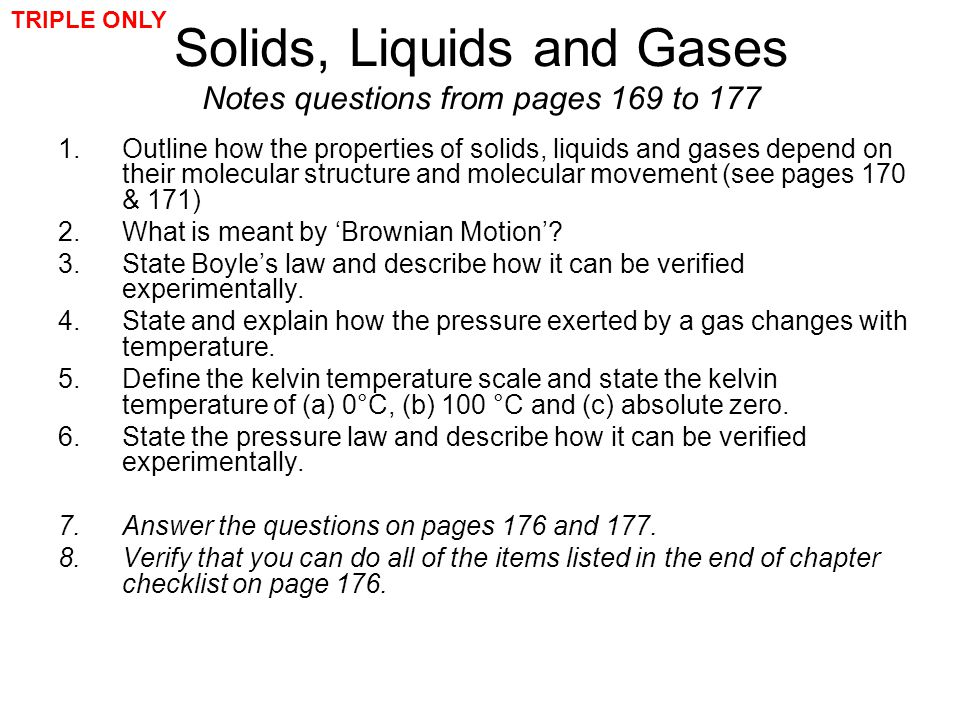Solids, Liquids and Gases Notes questions from pages 169 to 177