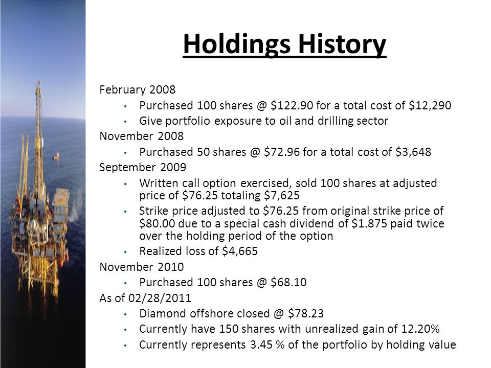Holdings History February 2008