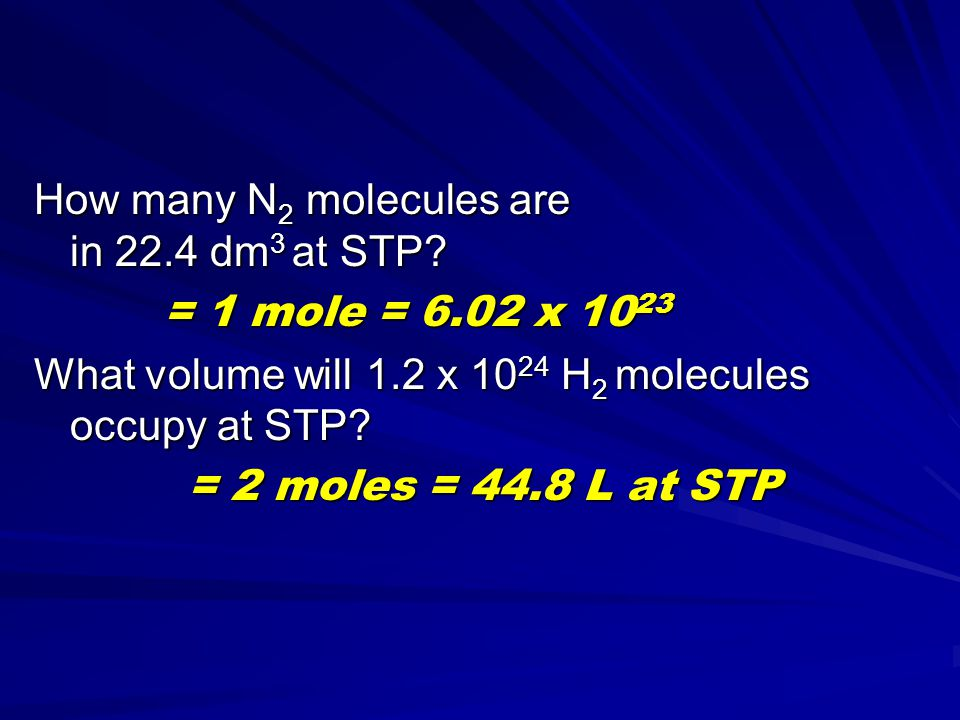 How many N2 molecules are in 22.4 dm3 at STP