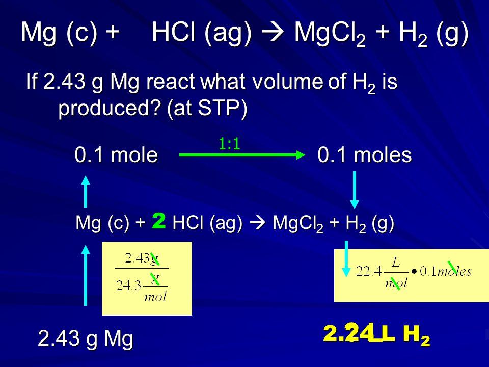 Mg (c) + HCl (ag)  MgCl2 + H2 (g)
