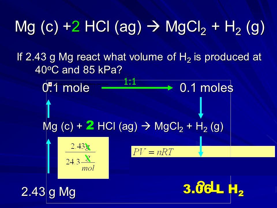 Mg (c) +2 HCl (ag)  MgCl2 + H2 (g)
