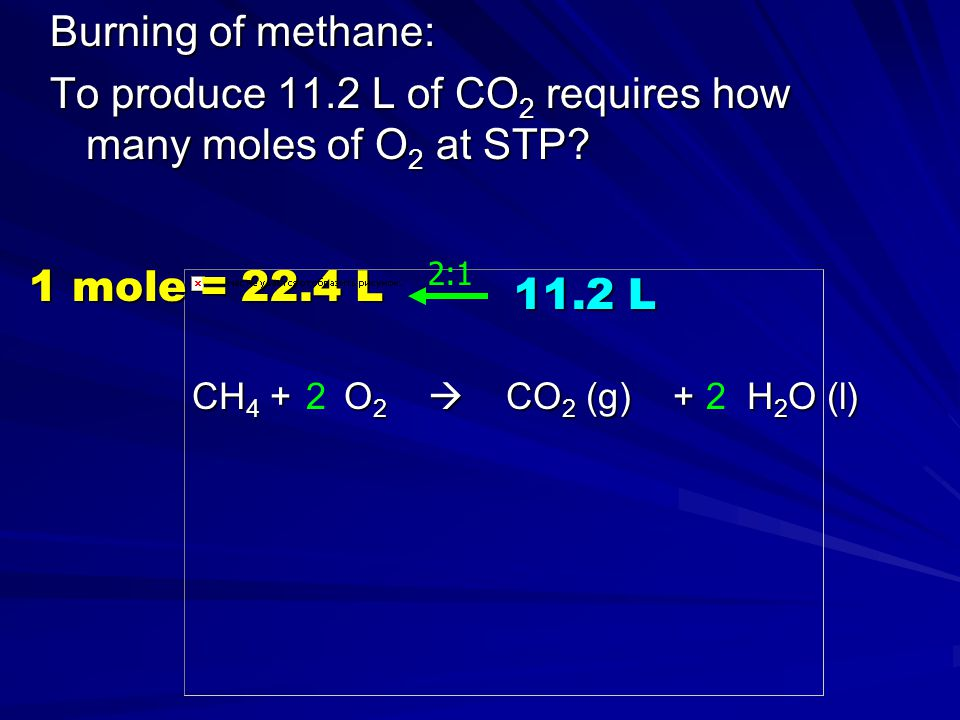 To produce 11.2 L of CO2 requires how many moles of O2 at STP