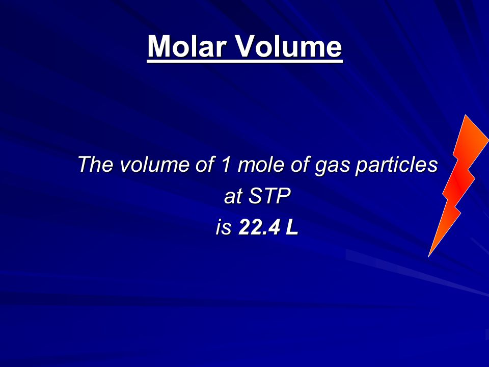 The volume of 1 mole of gas particles