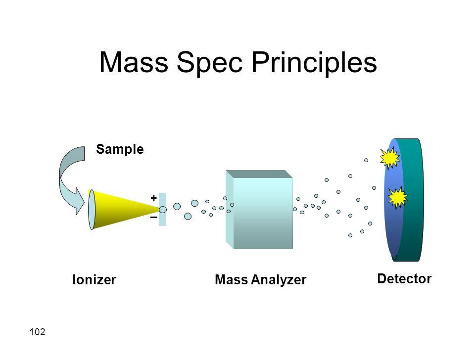 Mass Spec Principles Sample + _ Ionizer Mass Analyzer Detector