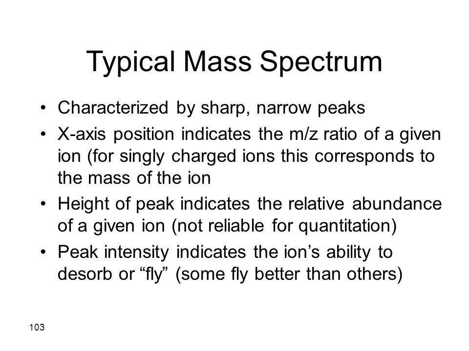 Typical Mass Spectrum Characterized by sharp, narrow peaks