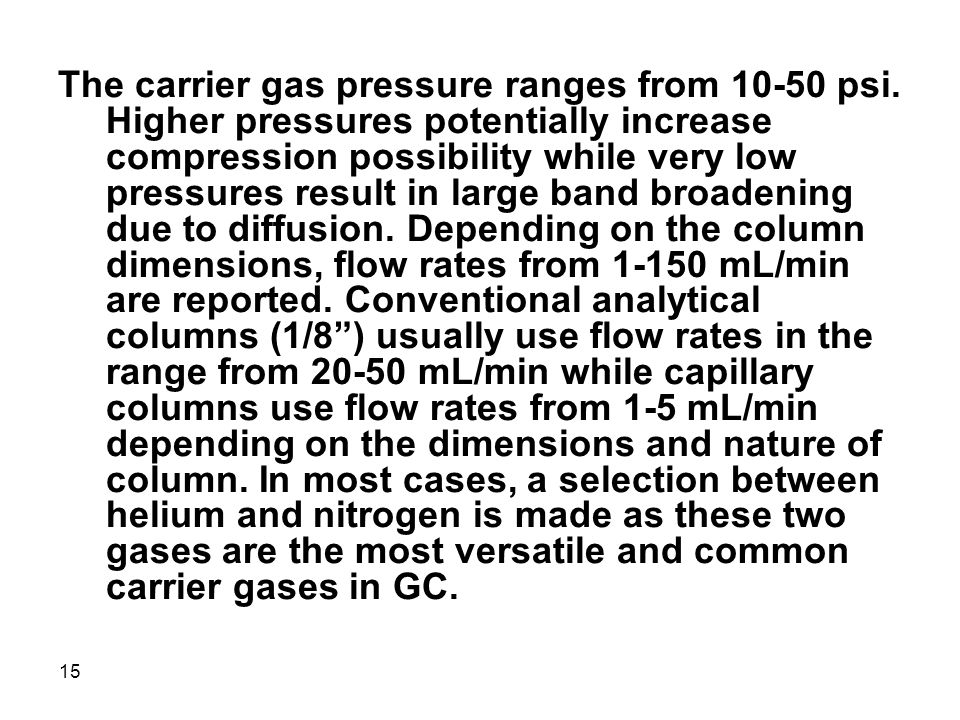 The carrier gas pressure ranges from 10-50 psi