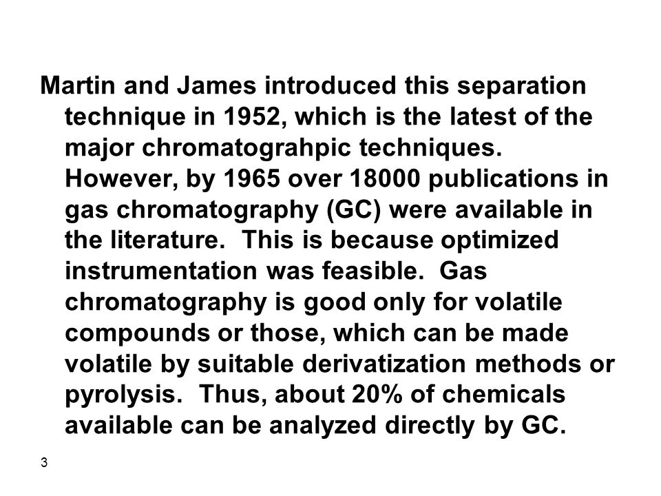 Martin and James introduced this separation technique in 1952, which is the latest of the major chromatograhpic techniques.