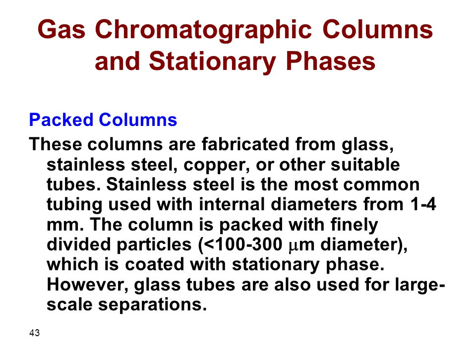 Gas Chromatographic Columns and Stationary Phases