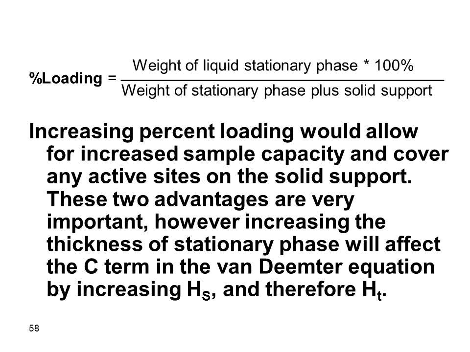 Weight of liquid stationary phase * 100%