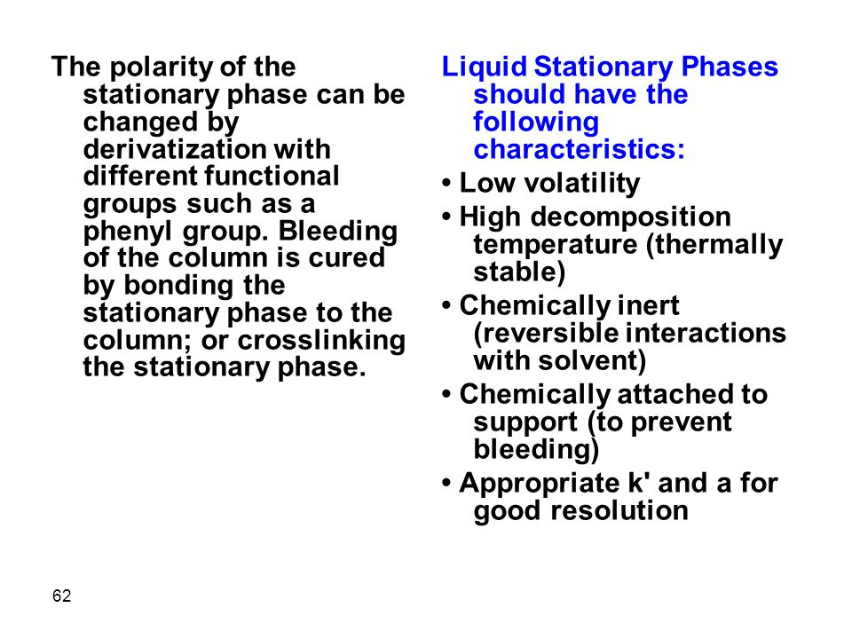 The polarity of the stationary phase can be changed by derivatization with different functional groups such as a phenyl group. Bleeding of the column is cured by bonding the stationary phase to the column; or crosslinking the stationary phase.