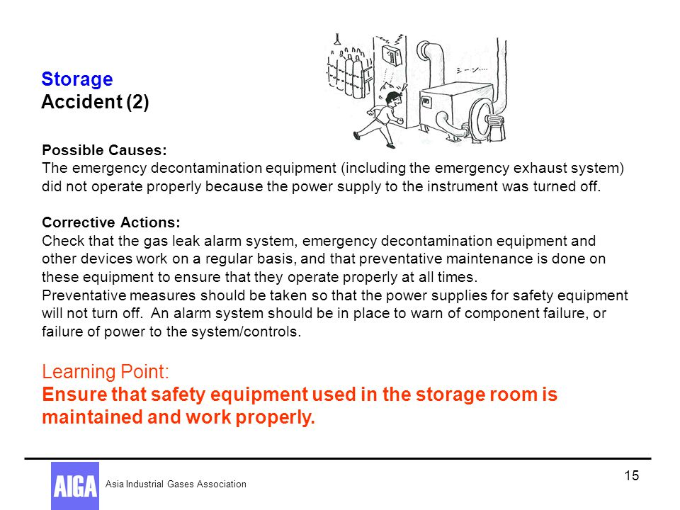 Storage Accident (2) Possible Causes: