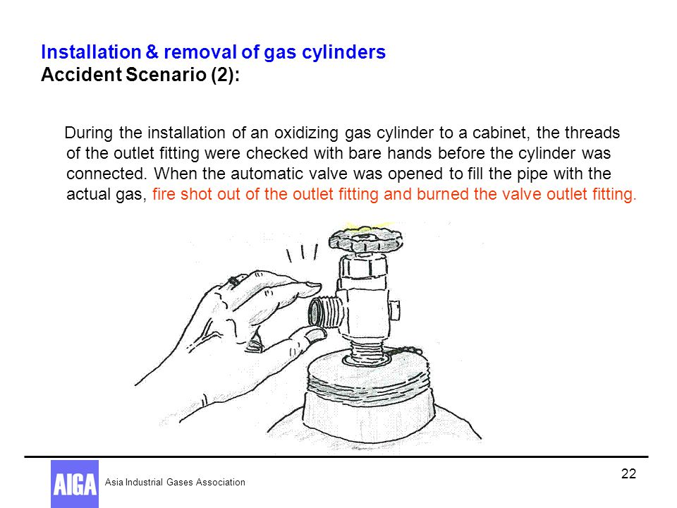 Installation & removal of gas cylinders Accident Scenario (2):