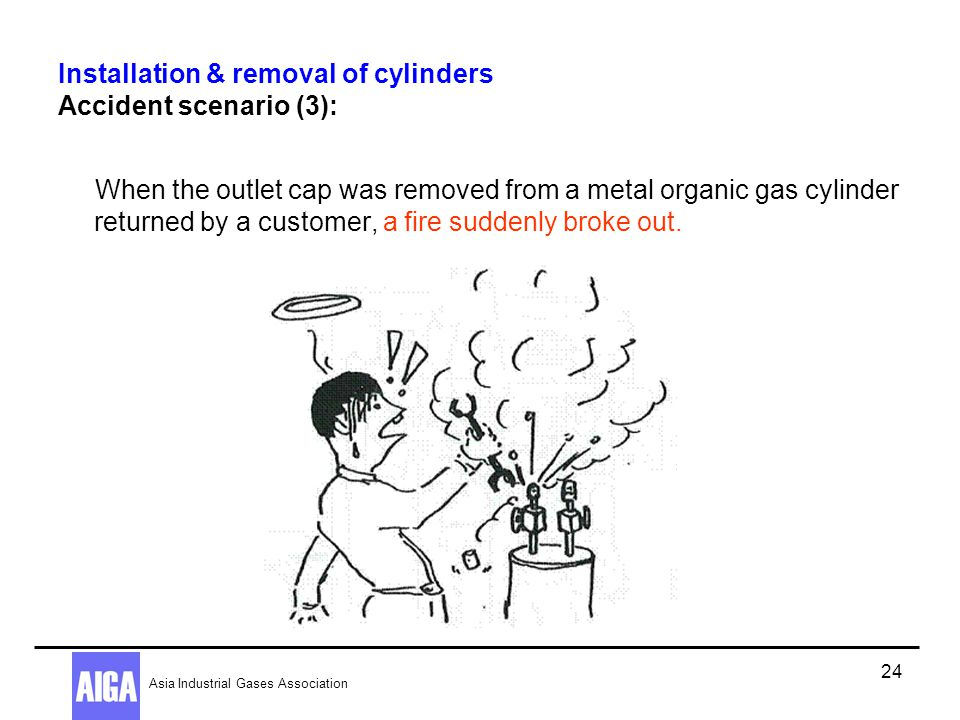 Installation & removal of cylinders Accident scenario (3):