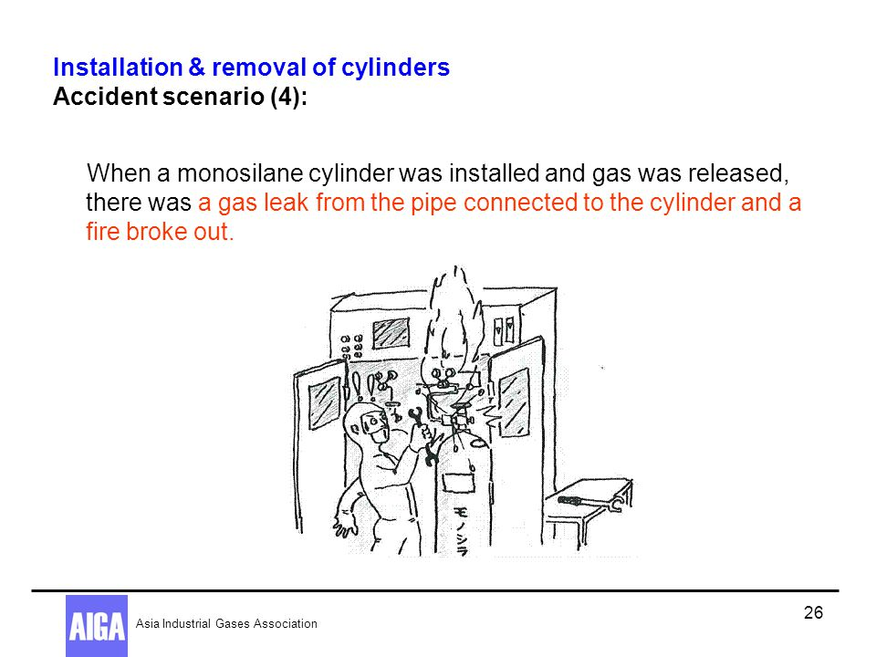 Installation & removal of cylinders Accident scenario (4):