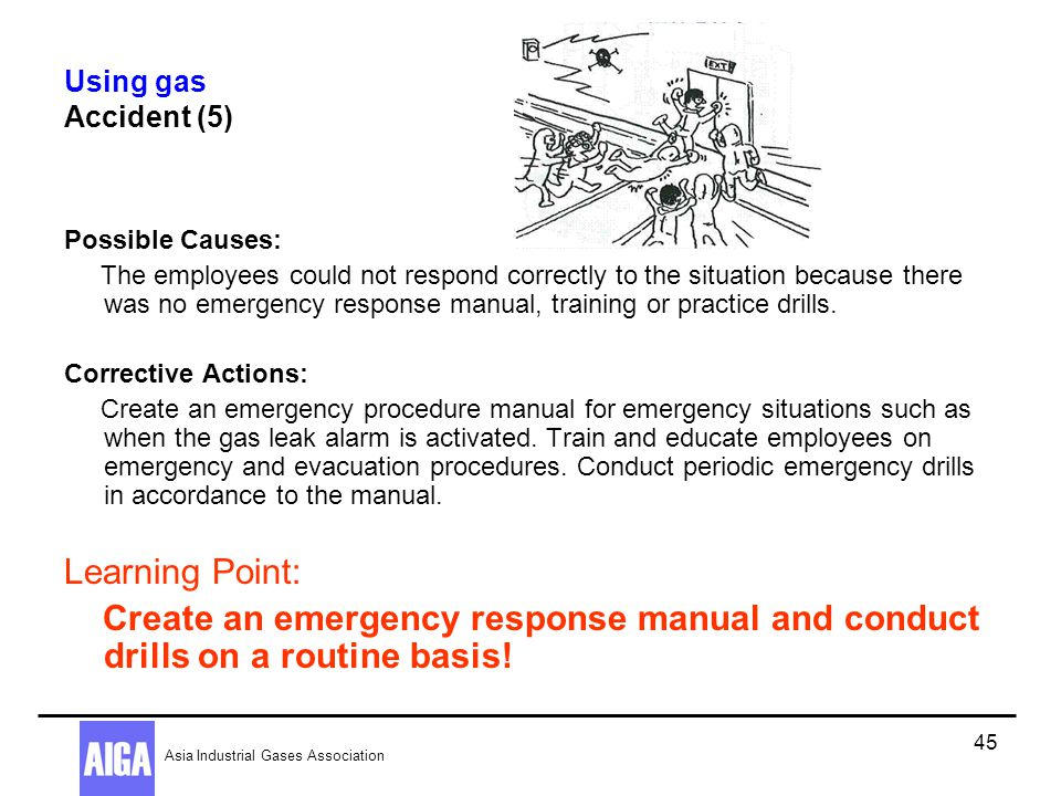 Using gas Accident (5) Possible Causes: