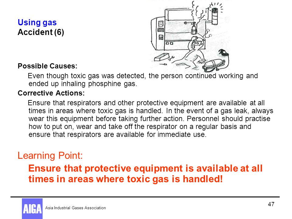 Using gas Accident (6) Possible Causes: Even though toxic gas was detected, the person continued working and ended up inhaling phosphine gas.