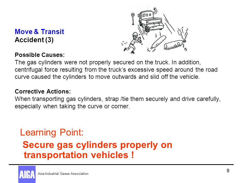 Secure gas cylinders properly on transportation vehicles !