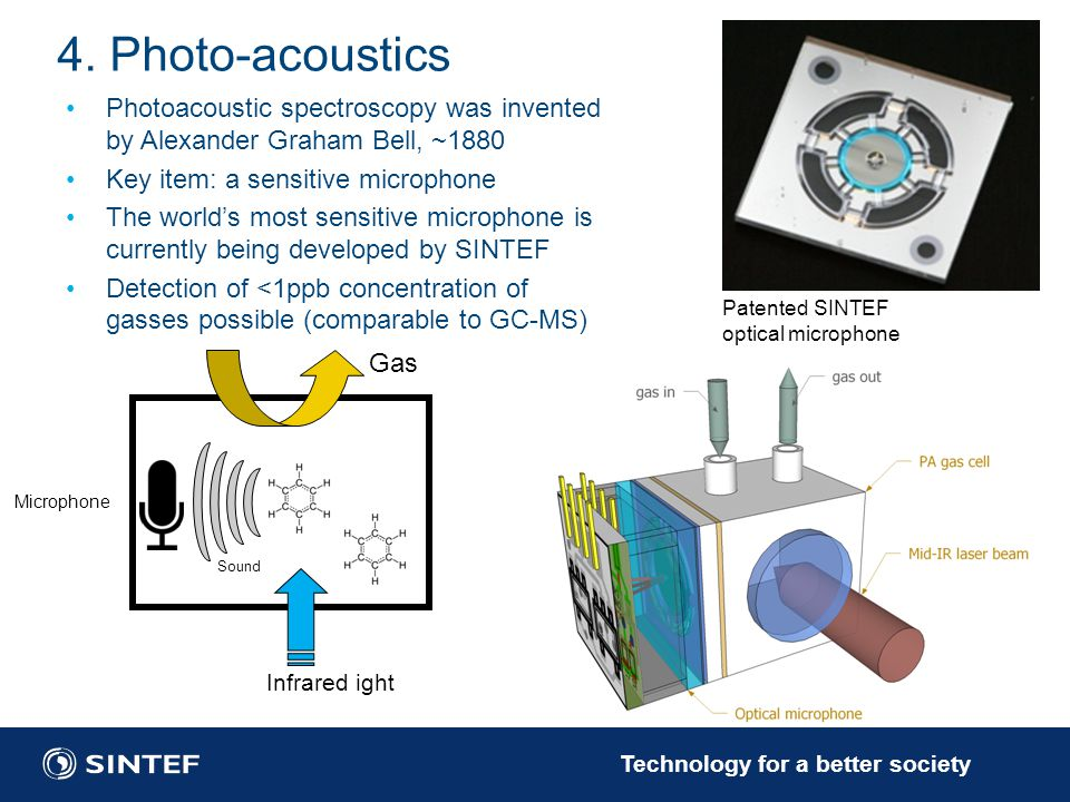 4. Photo-acoustics Photoacoustic spectroscopy was invented by Alexander Graham Bell, ~1880. Key item: a sensitive microphone.
