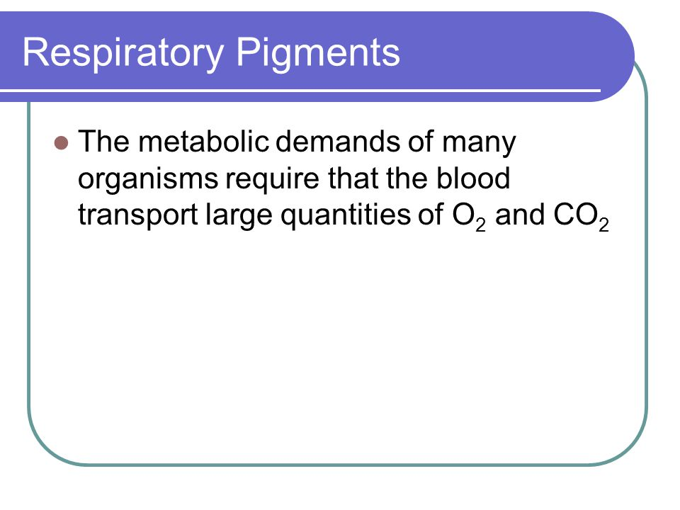 Respiratory Pigments The metabolic demands of many organisms require that the blood transport large quantities of O2 and CO2.