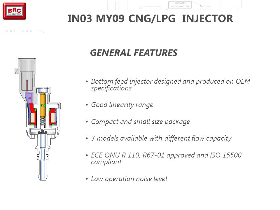 IN03 MY09 CNG/LPG INJECTOR GENERAL FEATURES
