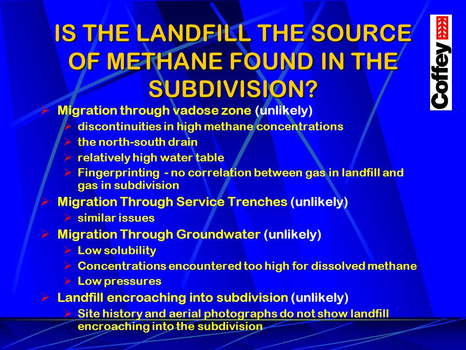 IS THE LANDFILL THE SOURCE OF METHANE FOUND IN THE SUBDIVISION