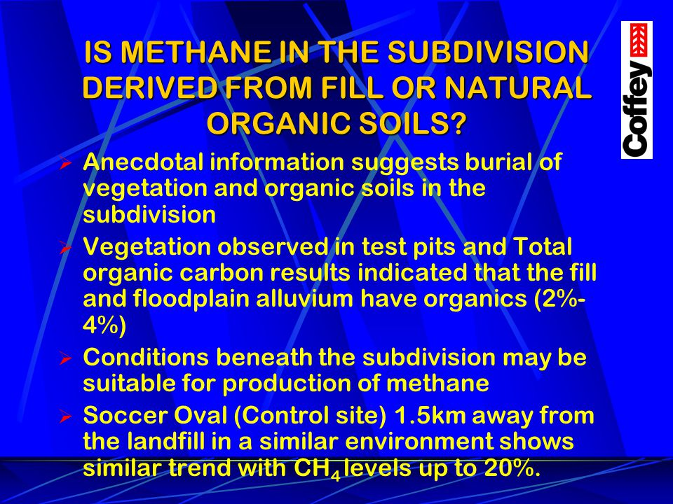 IS METHANE IN THE SUBDIVISION DERIVED FROM FILL OR NATURAL ORGANIC SOILS