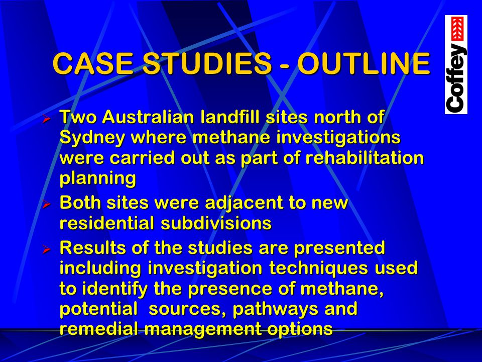 CASE STUDIES - OUTLINE Two Australian landfill sites north of Sydney where methane investigations were carried out as part of rehabilitation planning.