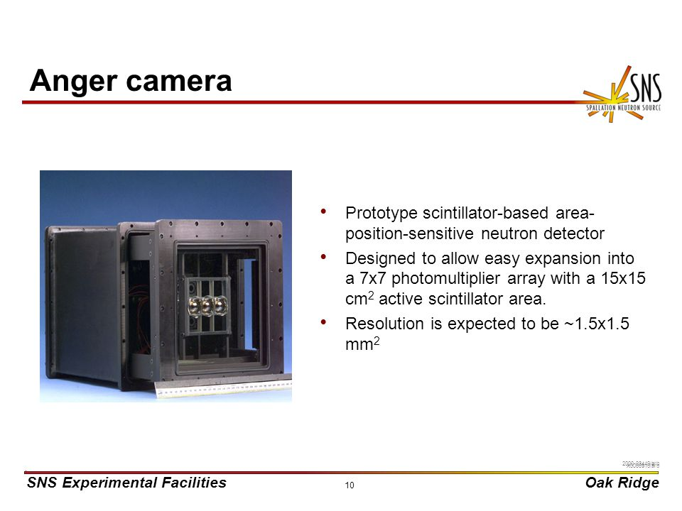 Anger camera Prototype scintillator-based area-position-sensitive neutron detector.