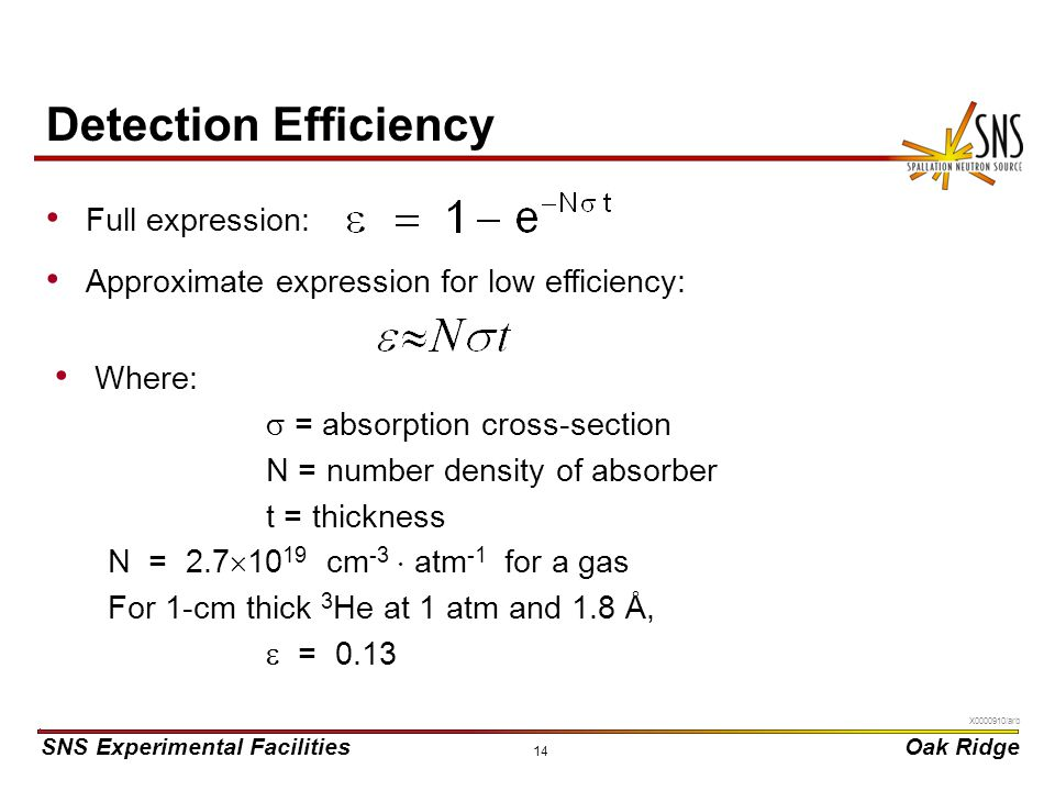 Detection Efficiency Full expression: