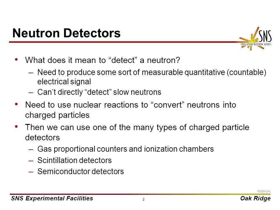 Neutron Detectors What does it mean to detect a neutron