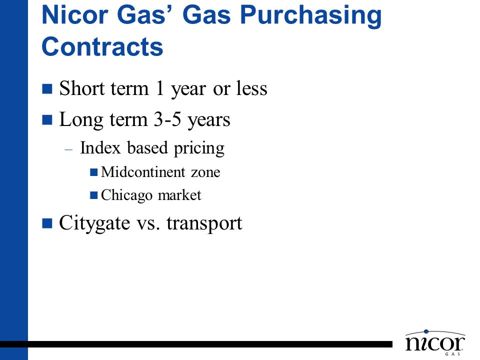 Nicor Gas' Gas Purchasing Contracts