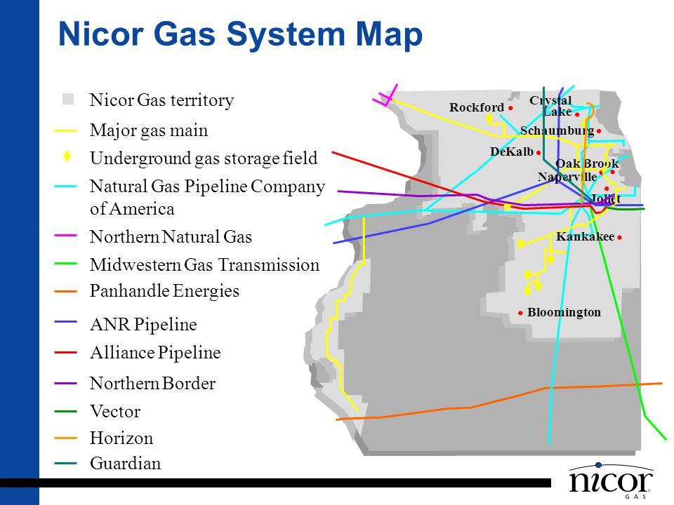 Nicor Gas System Map Nicor Gas territory Major gas main