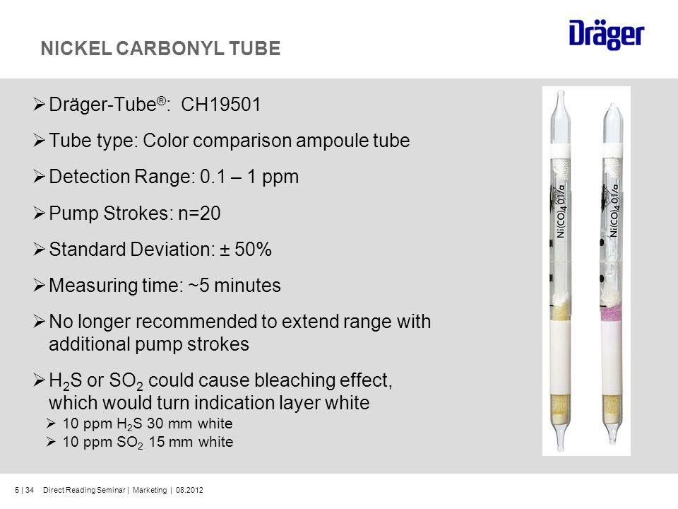Tube type: Color comparison ampoule tube Detection Range: 0.1 – 1 ppm