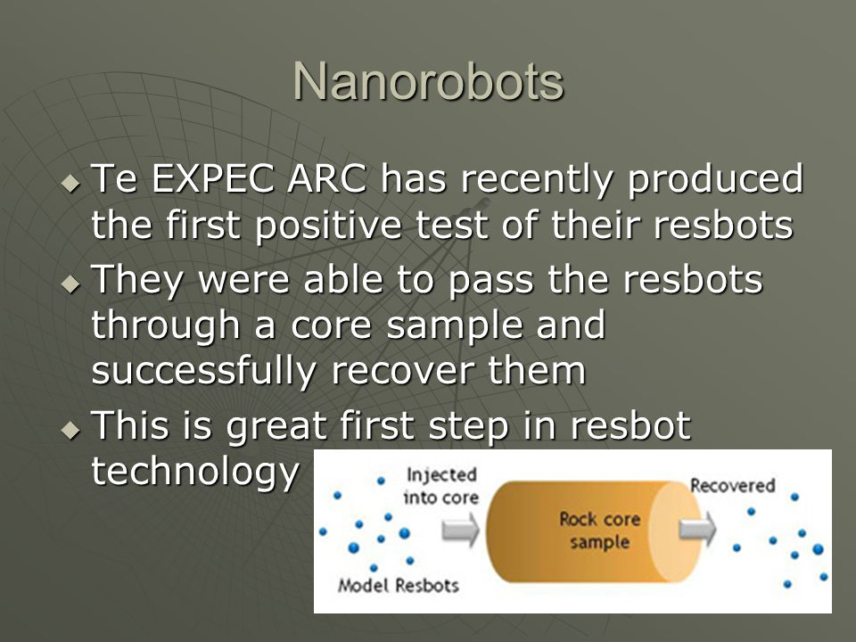 Nanorobots Te EXPEC ARC has recently produced the first positive test of their resbots.