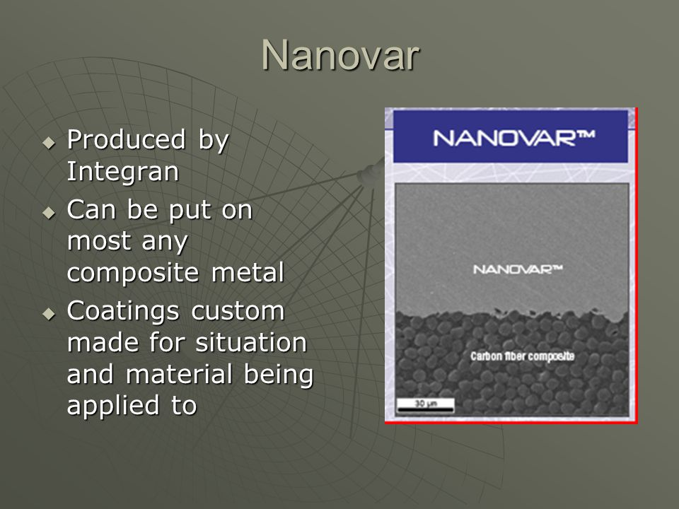 Nanovar Produced by Integran Can be put on most any composite metal