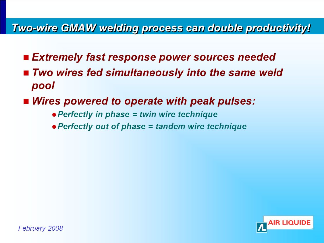 Two-wire GMAW welding process can double productivity!