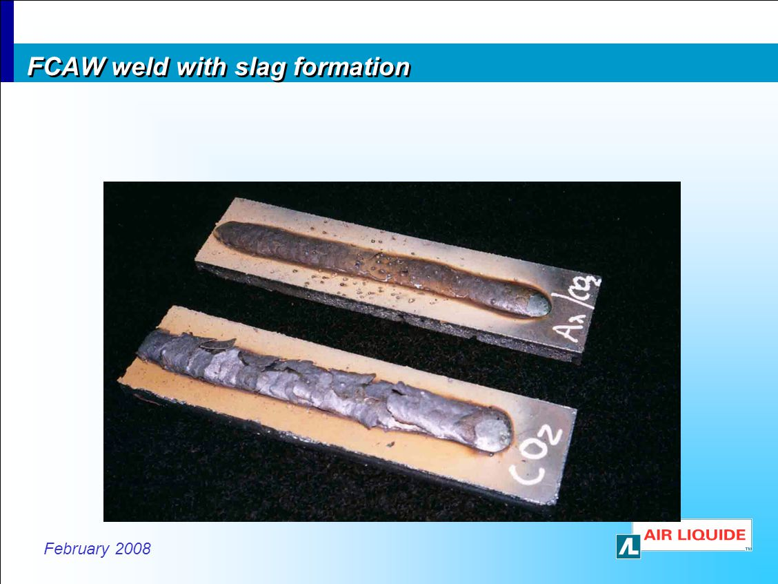 FCAW weld with slag formation